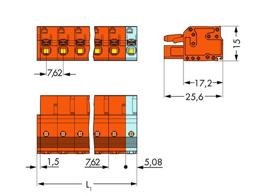 WAGO 2231-704/026-000 Busbehuizing-kabel 2231 Totaal aantal polen 4 Rastermaat: 7.62 mm 50 stuks
