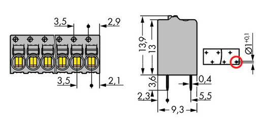 Veerkachtklemblok 1 mm² Aantal polen 5 WAGO Grijs 140 stuks