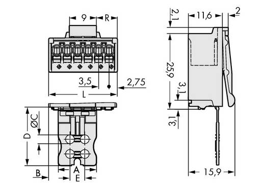 Penbehuizing-board 2091 Totaal aantal polen 6 WAGO 2091-1506/002-000 Rastermaat: 3.50 mm 50 stuks