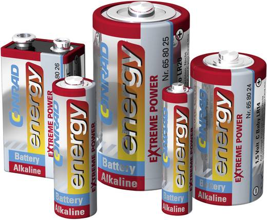 9V batterij (blok) Conrad energy Extreme Power 6LR61 Alkaline 1 stuks