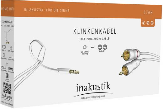 Inakustik Cinch / Jackplug Audio Aansluitkabel [2x Cinch-stekker - 1x Jackplug male 3.5 mm] 10 m Wit Vergulde steekconta
