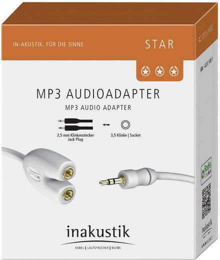 Inakustik Jackplug Audio Y-kabel [1x Jackplug male 3.5 mm - 2x Jackplug female 3.5 mm] 0.10 m Wit