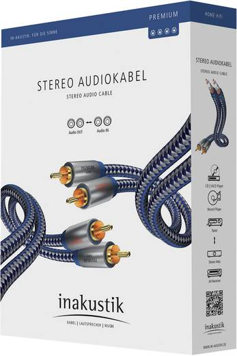 Inakustik Cinch Audio Aansluitkabel [2x Cinch-stekker - 2x Cinch-stekker] 3 m Blauw, Zilver Vergulde steekcontacten