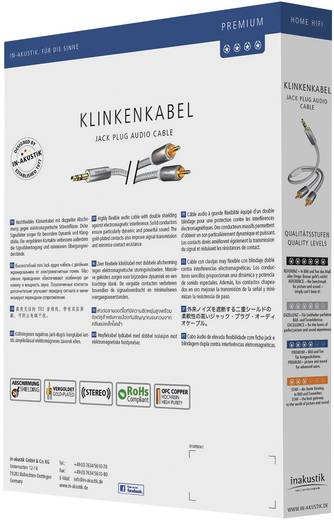 Inakustik Cinch / Jackplug Audio Aansluitkabel [2x Cinch-stekker - 1x Jackplug male 3.5 mm] 3 m Wit, Zilver Vergulde steekcontacten