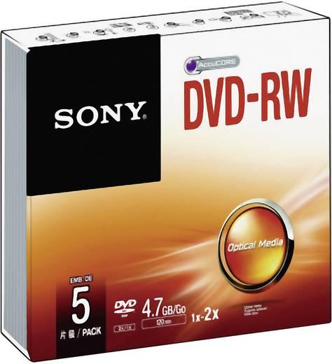 DVD-RW disc 4.7 GB Sony 5DMW47SS 5 stuks Jewelcase Herschrijfbaar