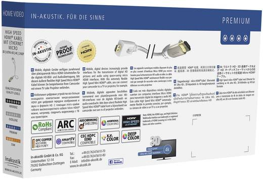 Kabel HDMI Inakustik 423307 [1x HDMI-stekker - 1x HDMI-stekker D micro] 0.75 m Wit
