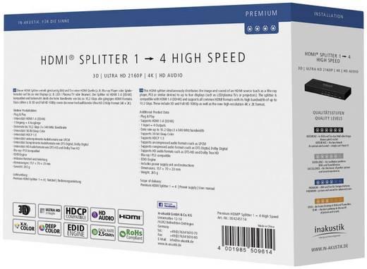 4 poorten HDMI-splitter Inakustik 4245114 Ultra HD-geschikt, 3D-weergave mogelijk Zwart