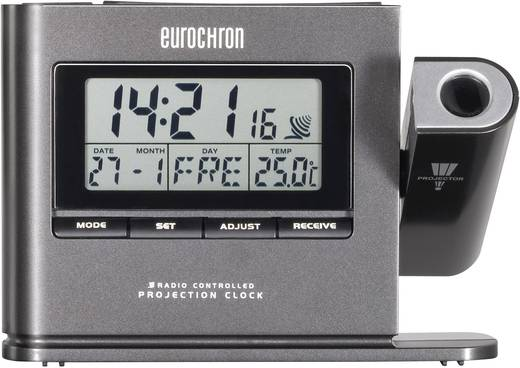 Eurochron DCF projectieklok EFP 3000 (l x b x h) 30 x 130 x 94 mm Donkergrijs