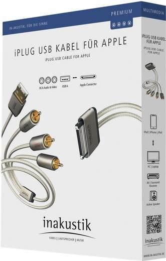 Inakustik iPad/iPhone/iPod Aansluitkabel [3x Cinch-stekker, USB 2.0 stekker A - 1x Apple dock-stekker] 2 m