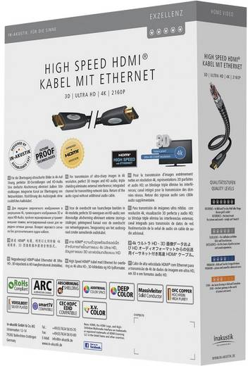 Inakustik Exzellenz High Speed HDMI-kabel met ethernet HDMI-stekker op HDMI-stekker zwart 5 m