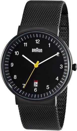 Braun Quarz-Armbanduhr Analoog Horloge RVS Zwart