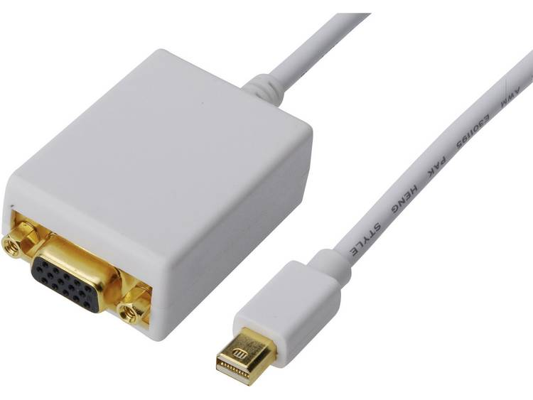 Digitus DisplayPort-VGA Adapter [1x Mini-DisplayPort stekker => 1x VGA bus] Wit