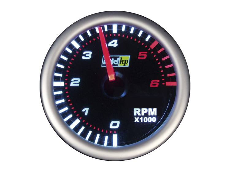 raid hp 660247 Inbouwmeter (auto) Toerentalmeter benzine of dieselmotor Meetbereik 0 6000 omw min NightFlight Wit, Rood 52 mm