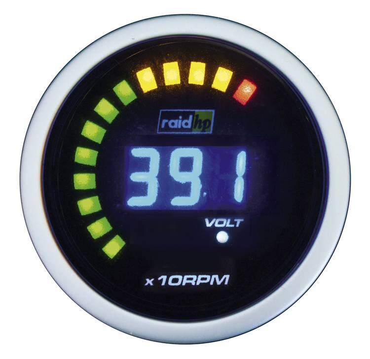 raid hp 660512 Inbouwmeter (auto) Toerentalmeter benzine- of dieselmotor Meetbereik 0 - 6000 omw min NightFlight Digital Blue Blauw. Wit 52 mm