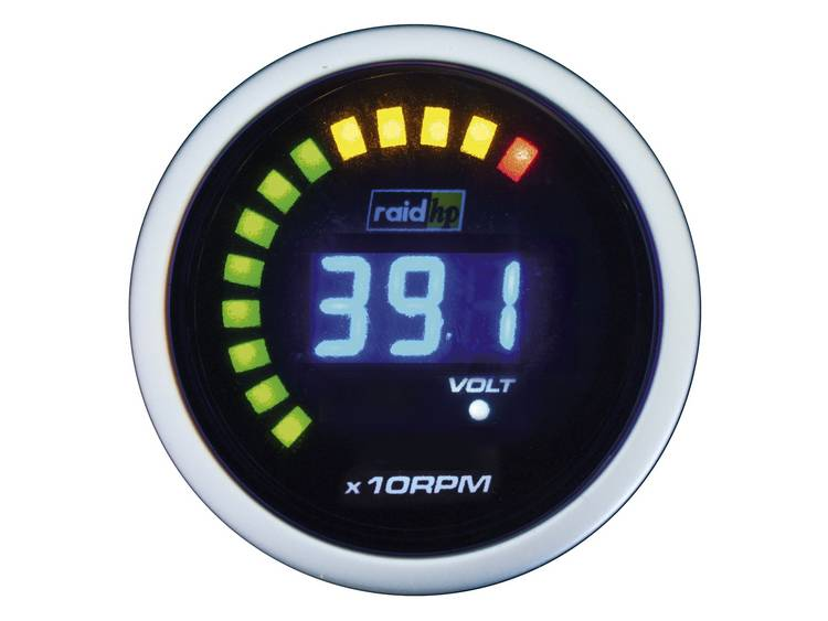 raid hp 660512 Inbouwmeter (auto) Toerentalmeter benzine of dieselmotor Meetbereik 0 6000 omw min NightFlight Digital Blue Blauw, Wit 52 mm
