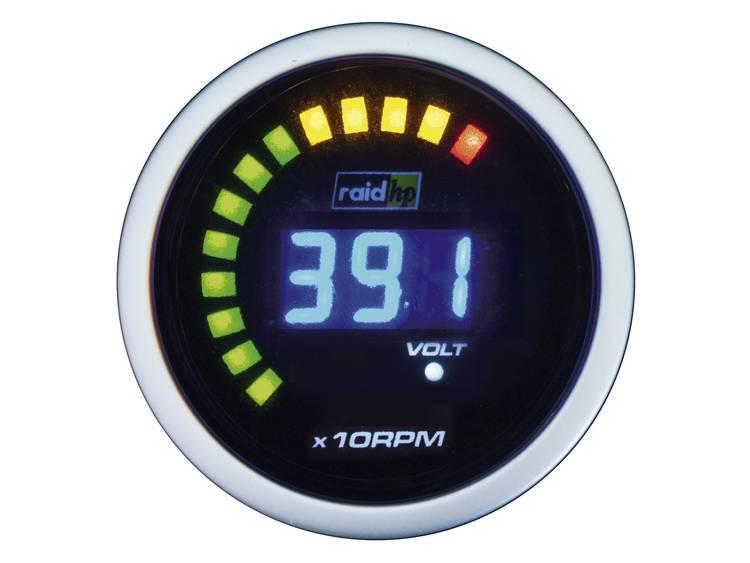 raid hp 660512 Inbouwmeter (auto) Toerentalmeter benzine of dieselmotor Meetbereik 0 6000 omw min NightFlight Digital Blue Blauw, Wit 52 mm