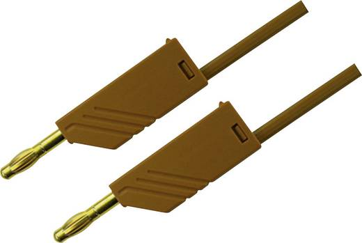 SKS Hirschmann MLN 25/2,5 bruin / Brown Au Meetsnoer [ Banaanstekker 4 mm - Banaanstekker 4 mm] 0.25 m Bruin