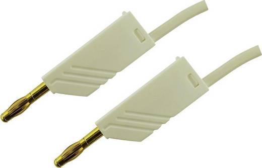 SKS Hirschmann MLN 25/2,5 wit / white Au Meetsnoer [ Banaanstekker 4 mm - Banaanstekker 4 mm] 0.25 m Wit