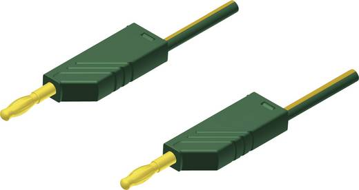SKS Hirschmann MLN 200/2,5 Au geel/groen Meetsnoer [ Banaanstekker 4 mm - Banaanstekker 4 mm] 2 m Geel