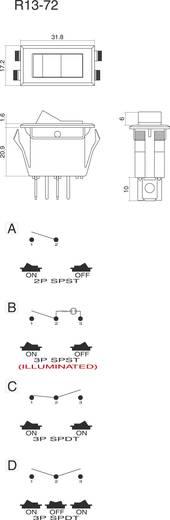 SCI R13-72C-01 Wipschakelaar 250 V/AC 10 A 1x aan/aan vergrendelend 1 stuks