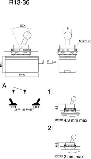 SCI R13-36A2-05 Tuimelschakelaar 250 V/AC 3 A 1x uit/aan vergrendelend 1 stuks