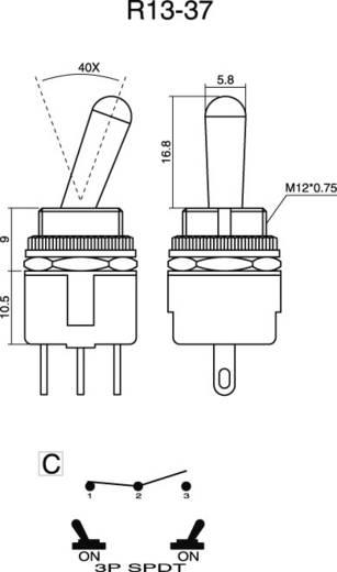 SCI R13-37C-05 Tuimelschakelaar 250 V/AC 3 A 1x aan/aan vergrendelend 1 stuks