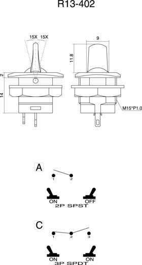 SCI R13-402C-05 Tuimelschakelaar 250 V/AC 3 A 1x aan/aan vergrendelend 1 stuks