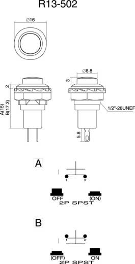 SCI R13-502MA-05RT Druktoets 250 V/AC 1.5 A 1x uit/(aan) schakelend 1 stuks