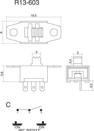 SCI R13-603C-05 Schuifschakelaar 250 V/AC 3 A 1x aan/aan 1 stuks