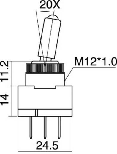 SCI R13-61L2 ILLUMINATED RED Auto tuimelschakelaar 12 V/DC 20 A 1x uit/aan vergrendelend 1 stuks