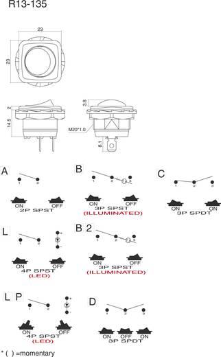 SCI R13-135A-02 Wipschakelaar 250 V/AC 10 A 1x uit/aan vergrendelend 1 stuks