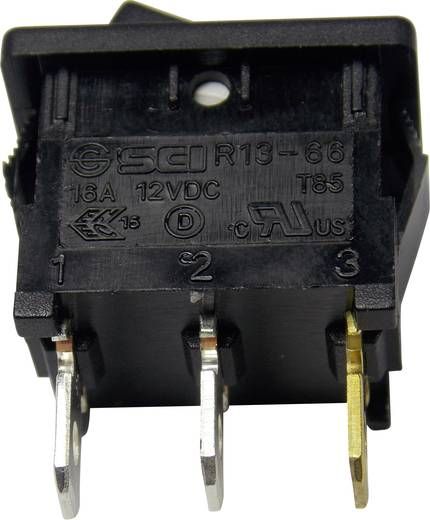 SCI R13-66B2-02 B/B Wipschakelaar 12 V/DC 16 A 1x uit/aan vergrendelend 1 stuks