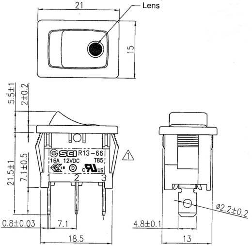 SCI R13-66B2-02 B/B Wipschakelaar 12 V 16 A 1x uit/aan vergrendelend 1 stuks