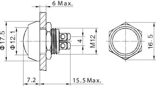 TRU Components GQ12B-A, BL Vandalismebestendige druktoets 48 V/DC 2 A 1x uit/(aan) IP65 schakelend 1 stuks