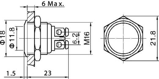 TRU Components GQ 16F-G Vandalismebestendige druktoets 48 V/DC 2 A 1x uit/(aan) IP65 schakelend 1 stuks