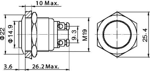 TRU Components GQ 19H-N Vandalismebestendige druktoets 48 V/DC 2 A 1x uit/(aan) IP65 schakelend 1 stuks