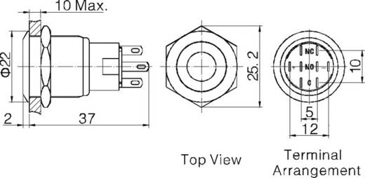 TRU Components LAS1-AGQ-22D, RD Vandalismebestendige druktoets 250 V/AC 5 A 2x aan/(aan) IP67 schakelend 1 stuks