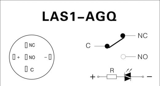 TRU Components LAS1-AGQ-11E, RD Vandalismebestendige druktoets 250 V/AC 5 A 1x aan/(aan) IP67 schakelend 1 stuks