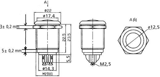 PBS-28B-3 Vandalismebestendige druktoets 250 V/AC 2 A 1x uit/(aan) schakelend 1 stuks