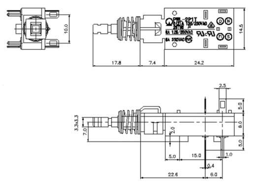 PWL-2P1TL-6SASHA Netschakelaar, Drukschakelaar 250 V/AC 6 A 2x uit/aan vergrendelend 1 stuks