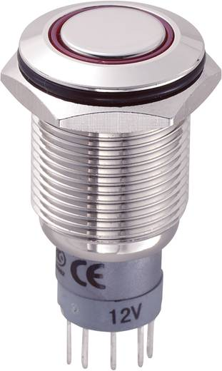 TRU Components LAS2GQF-11ZE/R/12V/N/P Vandalismebestendige drukschakelaar 250 V/AC 3 A 1x aan/aan IP67 vergrendelend 1 s