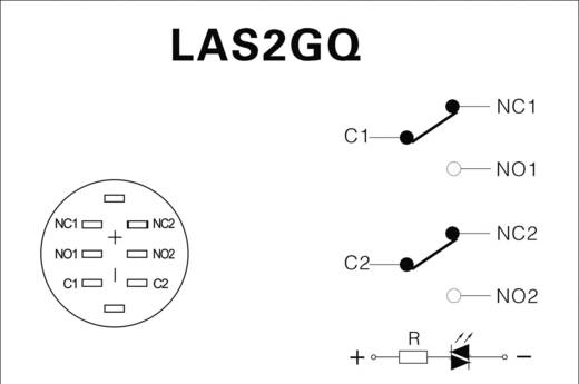 LAS2GQF-22ZE/B/12V/N/P Vandalismebestendige drukschakelaar 250 V/AC 3 A 2x aan/aan IP67 vergrendelend 1 stuks