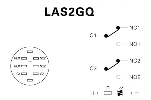 LAS2GQF-22ZE/G/12V/S/P Vandalismebestendige drukschakelaar 250 V/AC 3 A 2x aan/aan IP67 vergrendelend 1 stuks