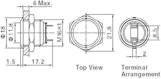 TRU Components GQ16F-10/J/S Vandalismebestendige druktoets 48 V/DC 2 A 1x uit/(aan) IP65 schakelend 1 stuks