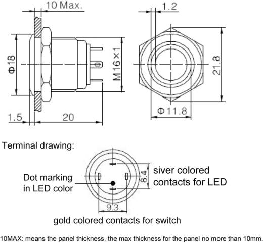 GQ16F-10E/J/G/12V Vandalismebestendige druktoets 48 V/DC 2 A 1x uit/(aan) IP65 schakelend 1 stuks