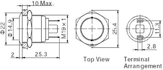 TRU Components GQ19F-10/J/S Vandalismebestendige druktoets 48 V/DC 2 A 1x uit/(aan) IP65 schakelend 1 stuks