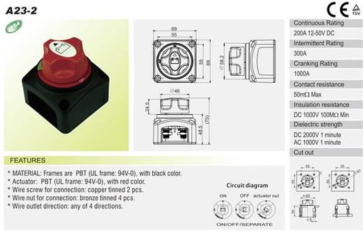 SCI A23-2 Auto accu schakelaar 12 V/DC, 50 V/DC 200 A 1x uit/aan vergrendelend IP54 1 stuks
