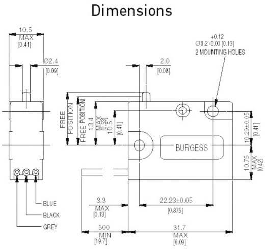 Burgess V3SQ1UL Microschakelaar 250 V/AC 5 A 1x aan/(aan) IP67 schakelend 1 stuks