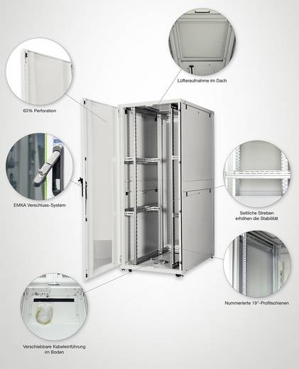 19 inch serverkast Digitus Professional DN-19 SRV-42U-8-N-1 (b x h x d) 800 x 1970 x 1000 mm 42 HE Lichtgrijs (RAL 7035)