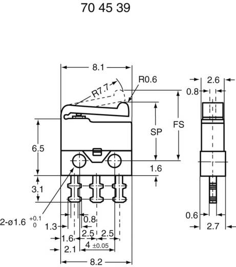 SSM-001 Microschakelaar 30 V/DC 0.5 A 1x aan/(aan) schakelend 1 stuks